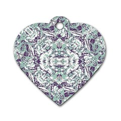 Modern Collage Pattern Mosaic Dog Tag Heart (one Side) by dflcprints