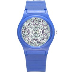 Modern Collage Pattern Mosaic Round Plastic Sport Watch (s) by dflcprints