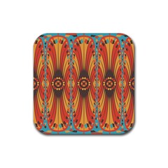 Geometric Extravaganza Pattern Rubber Square Coaster (4 Pack)  by linceazul