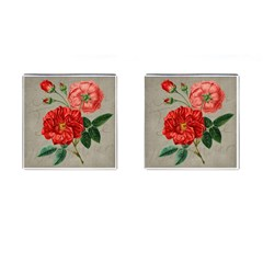 Flower Floral Background Red Rose Cufflinks (square) by Nexatart