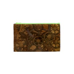 Background Steampunk Gears Grunge Cosmetic Bag (xs) by Nexatart