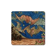 Bats Cubism Mosaic Vintage Square Magnet by Nexatart
