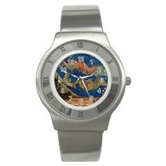 Bats Cubism Mosaic Vintage Stainless Steel Watch by Nexatart