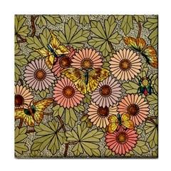 Flower Butterfly Cubism Mosaic Face Towel by Nexatart