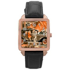 Car Automobile Transport Passenger Rose Gold Leather Watch  by Nexatart