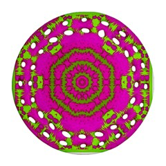Fern Forest Star Mandala Decorative Round Filigree Ornament (two Sides) by pepitasart