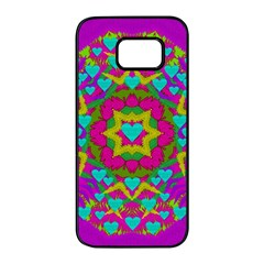 Hearts In A Mandala Scenery Of Fern Samsung Galaxy S7 Edge Black Seamless Case by pepitasart