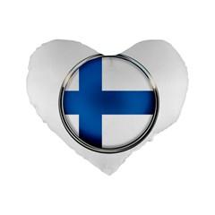 Finland Country Flag Countries Standard 16  Premium Flano Heart Shape Cushions by Nexatart