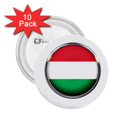 Hungary Flag Country Countries 2 25  Buttons (10 Pack)  by Nexatart