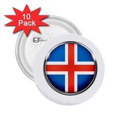Iceland Flag Europe National 2 25  Buttons (10 Pack)  by Nexatart