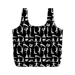 Yoga Pattern Full Print Recycle Bags (m)  by Valentinaart