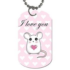 Cute Mouse   Valentines Day Dog Tag (two Sides) by Valentinaart