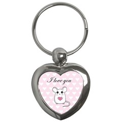 Cute Mouse   Valentines Day Key Chains (heart)  by Valentinaart