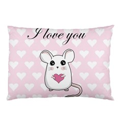 Cute Mouse   Valentines Day Pillow Case by Valentinaart
