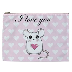 Cute Mouse   Valentines Day Cosmetic Bag (xxl)  by Valentinaart