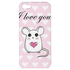 Cute Mouse   Valentines Day Apple Iphone 5 Hardshell Case by Valentinaart