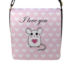 Cute Mouse   Valentines Day Flap Messenger Bag (l)  by Valentinaart