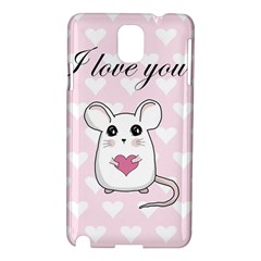 Cute Mouse   Valentines Day Samsung Galaxy Note 3 N9005 Hardshell Case by Valentinaart