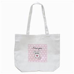 Cute Mouse   Valentines Day Tote Bag (white) by Valentinaart