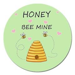 Bee Mine Valentines Day Magnet 5  (round) by Valentinaart