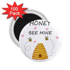 Bee Mine Valentines Day 2 25  Magnets (100 Pack)  by Valentinaart