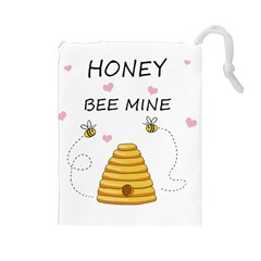 Bee Mine Valentines Day Drawstring Pouches (large)  by Valentinaart