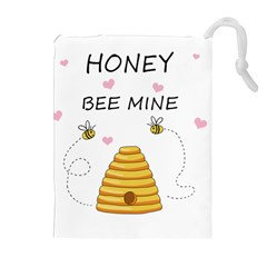 Bee Mine Valentines Day Drawstring Pouches (extra Large) by Valentinaart