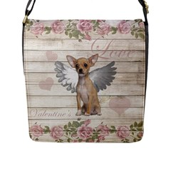 Vintage Chihuahua   Valentines Day Flap Messenger Bag (l)  by Valentinaart