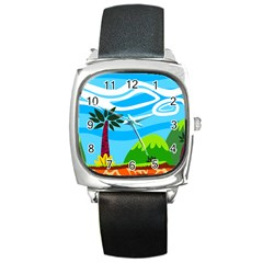 Landscape Background Nature Sky Square Metal Watch by Nexatart