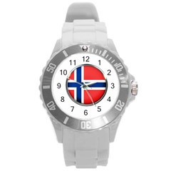 Norway Country Nation Blue Symbol Round Plastic Sport Watch (l) by Nexatart