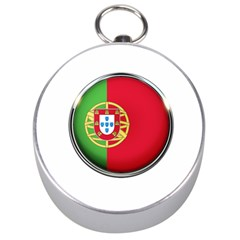 Portugal Flag Country Nation Silver Compasses by Nexatart