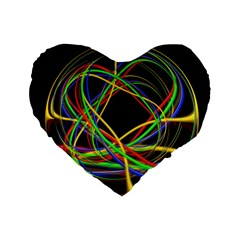 Ball Abstract Pattern Lines Standard 16  Premium Flano Heart Shape Cushions by Nexatart