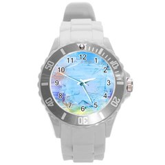 Background Art Abstract Watercolor Round Plastic Sport Watch (l) by Nexatart