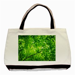 Green Wood The Leaves Twig Leaf Texture Basic Tote Bag by Nexatart