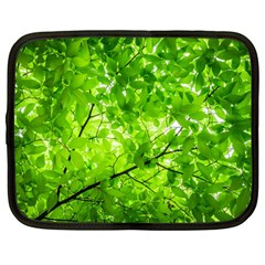 Green Wood The Leaves Twig Leaf Texture Netbook Case (large) by Nexatart