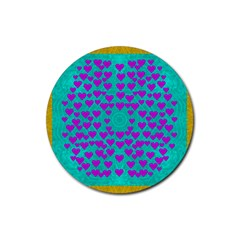 Raining Love And Hearts In The  Wonderful Sky Rubber Round Coaster (4 Pack)  by pepitasart