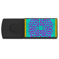 Raining Love And Hearts In The  Wonderful Sky Rectangular Usb Flash Drive by pepitasart