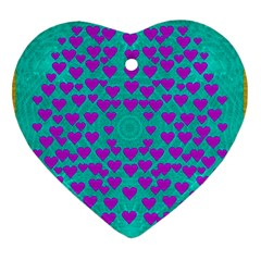 Raining Love And Hearts In The  Wonderful Sky Heart Ornament (two Sides) by pepitasart
