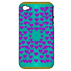 Raining Love And Hearts In The  Wonderful Sky Apple Iphone 4/4s Hardshell Case (pc+silicone) by pepitasart