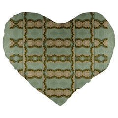 Celtic Wood Knots In Decorative Gold Large 19  Premium Flano Heart Shape Cushions by pepitasart