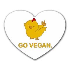 Go Vegan   Cute Chick  Heart Mousepads by Valentinaart
