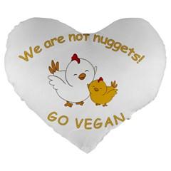 Go Vegan   Cute Chick  Large 19  Premium Flano Heart Shape Cushions by Valentinaart