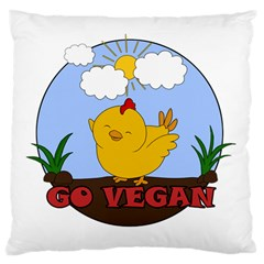 Go Vegan   Cute Chick  Standard Flano Cushion Case (one Side) by Valentinaart