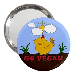 Go Vegan   Cute Chick  3  Handbag Mirrors by Valentinaart