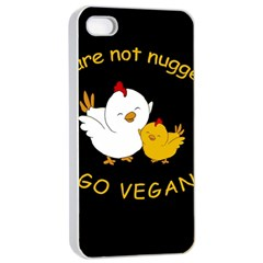 Go Vegan   Cute Chick  Apple Iphone 4/4s Seamless Case (white) by Valentinaart