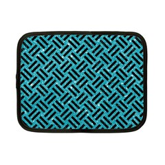 Woven2 Black Marble & Turquoise Glitter Netbook Case (small)  by trendistuff