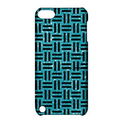 Woven1 Black Marble & Turquoise Glitter Apple Ipod Touch 5 Hardshell Case With Stand by trendistuff