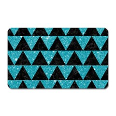 Triangle2 Black Marble & Turquoise Glittertriangle2 Black Marble & Turquoise Glitter Magnet (rectangular) by trendistuff