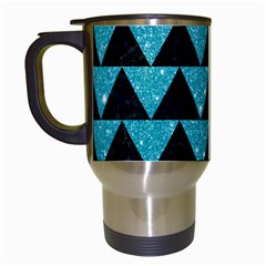 Triangle2 Black Marble & Turquoise Glittertriangle2 Black Marble & Turquoise Glitter Travel Mugs (white) by trendistuff
