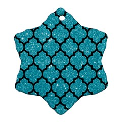 Tile1 Black Marble & Turquoise Glitter Snowflake Ornament (two Sides) by trendistuff